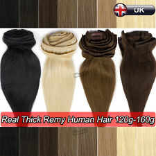 Deluxe Thick Clip in Remy Human Hair Extensions Virgin Full Head 110g-160g N528
