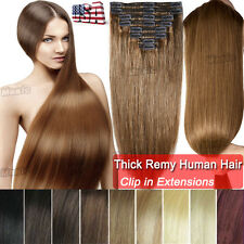 Real Luxury Full Head Clip in Remy Human Hair Extensions Thick Double Weft BS413