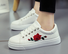 2017 Hot Sale Women's Embroidery Flat Heel Casual Sneakers Lace Up Shoes Oxfords