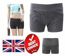Ladies Womens Stretchy Shorts Lace Front Pants 3 Pockets Hotpants