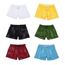 Sexy Mens Hollow Openwork Drawstring Lounge Underwear Boxer Shorts Pajamas Pants