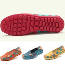Women Floral Print PU Leather Slip On Flat Loafers Ladies Round Toe Casual Shoes