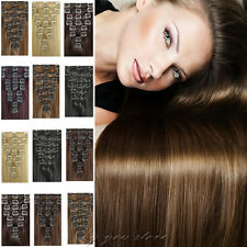 100% Natural Full Head Clip in Real Human Hair Extensions Remy 7/ 8Pieces BS409