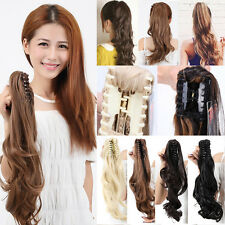 Hot Sell Long Natural CLAW On Ponytail Clip in Hair Extension Pony Tail Piece a1