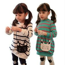 Toddler Kids Baby Girls Kitty Cat Long Sleeve T-shirt Tops+Pants Legging Outfits
