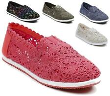 LADIES FLAT SHOES BALLET PUMPS BALLERINA DOLLY SLIP ON CROCHET CASUAL SHOES SIZE