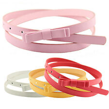 Womens Candy Color 2 Layers Thin Narrow Belt PU Leather Waistband Strap Hot Sell