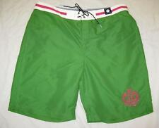 TOMMY HILFIGER mens XL green pink crest preppy swim trunks shorts NEW