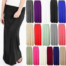 Womens Ladies Pleated Roll Over Waist Plain Jersey Full Length Maxi Gypsy Skirt