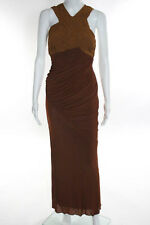 Valentino Roma Brown Sleeveless Ruched Draped Sheath Dress Size Small