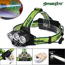 50000LM 5x XM-L T6 LED Rechargeable 18650 USB Headlamp Light Zoomable Torch NEW