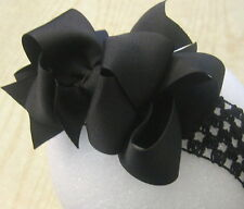 Black Double Layered Hair Bow Spikes Baby Girls Toddler