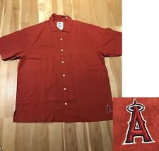 New Tommy Bahama Los Angeles Angels MLB Embroidered 100% Silk Shirt Red sz L