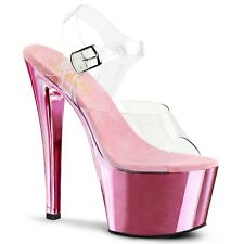 Pleaser SKY-308 Clear/Baby Pink Chrome Platform Sandal