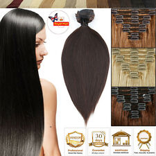 Human Hair Extensions Clip In Remy Thick Double Weft DIY Ombre Curly UK MM304