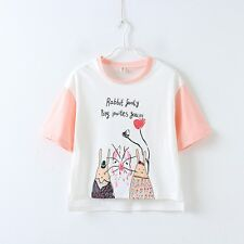 Japanese Girl Top Sweet  Short Sleeve T-Shirt Contrast Color Cute Cartoon Letter