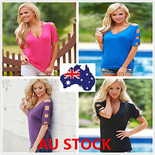Women Summer V-neck Short Sleeve Tops Off Shoulder Loose Blouse Casual Tee