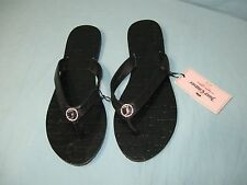 """NWT Juicy Couture Black Flip Flop """" Juicy Couture """" Flat Soled Sandals"""
