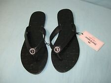 "NWT Juicy Couture Black Flip Flop "" Juicy Couture "" Flat Soled Sandals"