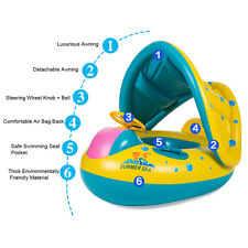 Swimming Pool Kids Baby Toddler Swim Seat Float Boat Ring With Sunshade Protect