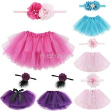 Newborn Toddler Baby Girls Headband Tutu Skirt Costume Photo Prop Outfits Set