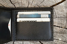 Hand made genuine leather thick men wallet black heavy duty last long