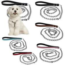 Pet Dog Leather Iron Rope Lead Leash Collar Harness Safety Strap 120 x 1.5cm