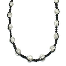 Shamballa Style Necklace, Clear Pave Crystal Disco Ball Beads 12mm