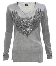 Harley-Davidson Women's Arise Embellished Deep V-Neck Long Sleeve Shirt, Gray