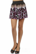 S M L Sexy Purple Leopard Animal Printed Flowly Elastic Waist Mini Skirt Circle