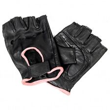Ladies Leather FINGERLESS Pink Piping Gloves Motorcycle Biker Driving Womens