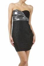 Dress Black Wet Look Metallic Strapless Crinkle Textured Tube Mini Club Sexy New