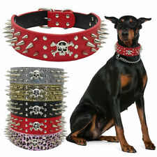 "2""Wide Skull Spiked Studded PU Leather Dog Collar for Large Dogs Pitbull Mastiff"