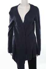 Minnie Rose Blue Cashmere Open Front Long Sleeve Cardigan Size Medium