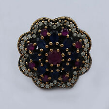 White Topaz And Hydro Ruby, Sapphire 925 Silver Jewelry Royal Ring Size 7
