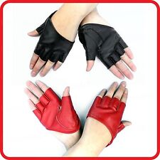 SEXY WOMEN FIVE 5-HALF FINGER FINGERLESS HALF PALM CUT SCOOP GLOVES-PU LEATHER