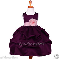 PLUM/PINK WEDDING PAGEANT PICK UP FLOWER GIRL DRESS 6M 9M 12M 18M 2 4 6 8 10 12