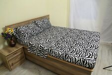 Zebra Print 100% Egyptian Cotton 1000 TC 35 Cm Drop 6 PCs Sheet Set