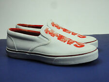 Sperry Top-Sider Men's Striper Slip On JAWS Logo White Sneakers Boat Shoes