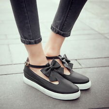 Womens girls Flat shoes Butterfly Knot T-strap Loafers Buckle Comfort Casual New