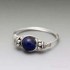 Sodalite Bali Sterling Silver Wire Wrapped Bead Ring