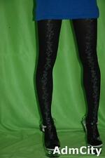 Opaque Spandex Pantyhose Tights with Silver Floral Rose Print Front Black/Silver