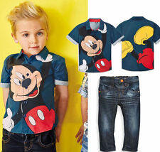 2pcs Kids Toddler Baby Boys Short Sleeve Mickey Mouse Shirt Tops + Jeans Sets