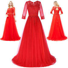 New Red Lace Mother Bride Ball Evening Dress Pageant Formal Wedding Evening Gown