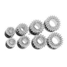 Pair Rhinestone Crystal Screw Tunnel Ear Expander Stretcher Plug Piercing Gauge