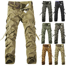 Stylish Men's Cotton Military Baggy Cargo Combat Pants Pleated Pocket Trousers