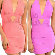 New S M L Dress Halter Stretch Mini Keyhole Bodycon Peek A Boo Ruched Club Party