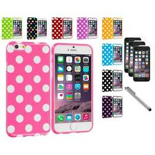 For iPhone 6 (4.7) TPU Polka Dot Case Cover+3X Screen Protector+Pen