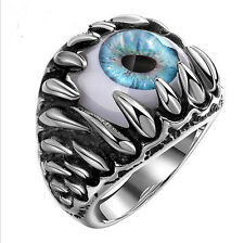 Vintage Mens Ring Titanium Steel Stainless Steel Horrible Eye Ball Ring Blue J