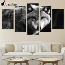 Framed Home Decor Canvas Print Painting Wall Art Modern Red Eye Wolf Wolves Post
